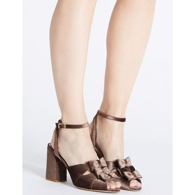 M&S Collection Block Heel Bow Sandals