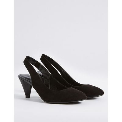 M&S Collection Angular Heel Elastic Slingback Court Shoes