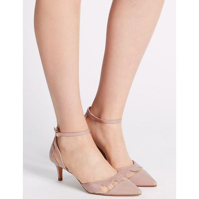 M&S Collection Kitten Ankle Strap Court Shoes