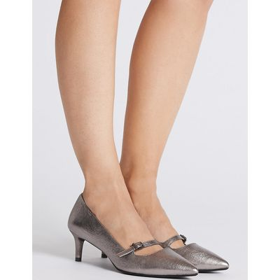 M&S Collection Wide Fit Kitten Heel Bar Court Shoes