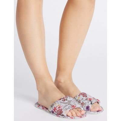 M&S Collection Floral Print Mule Slippers