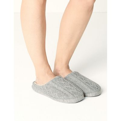M&S Collection Cable Knit Mule Slippers