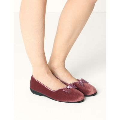 M&S Collection Pull-on V-Throat Bow Ballerina Slippers