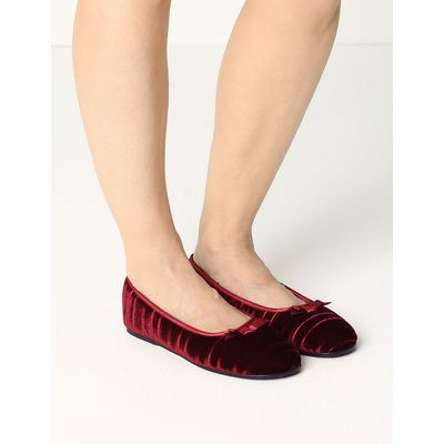 M&S Collection Striped & Embossed Ballerina Slippers