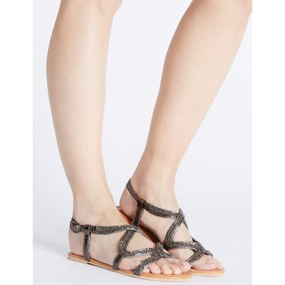 M&S Collection Leather Swirl Jewel Sandals
