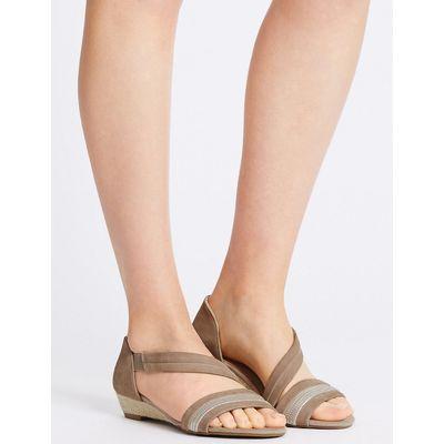 Footglove Suede Wedge Heel Asymmetrical Sandals