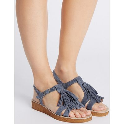 Footglove Suede Fringe Sandals with StainAway