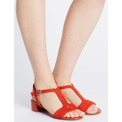 Footglove Suede Block Heel T-Bar Sandals
