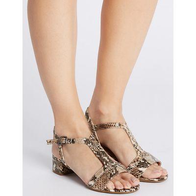 Footglove Leather Block Heel T-Bar Sandals