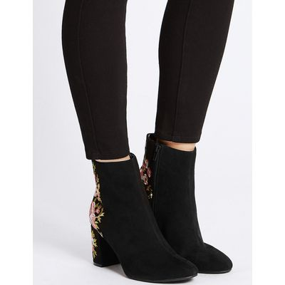 M&S Collection Block Heel Embroidered Ankle Boots