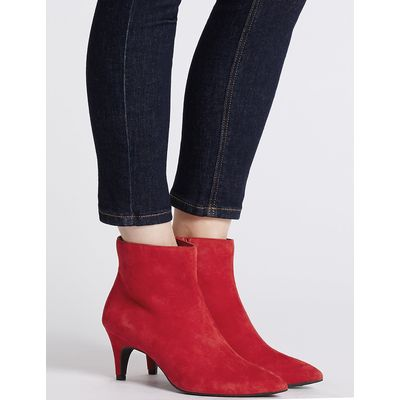 M&S Collection Wide Fit Leather Kitten Ankle Boots