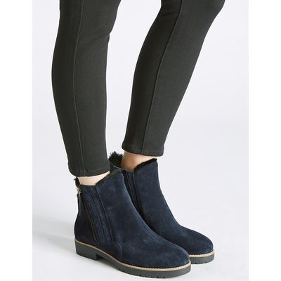 M&S Collection Wide Fit Leather Side Zip Fur Ankle Boots