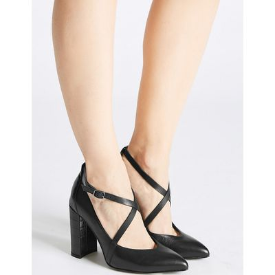 M&S Collection Leather Block Heel Cross Strap Court Shoes