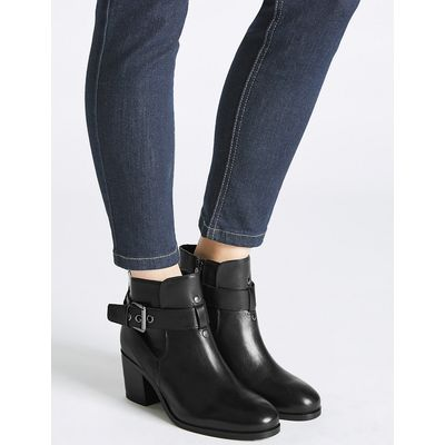 M&S Collection Leather Block Heel Strap Ankle Boots