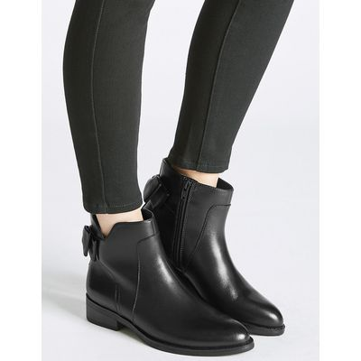 M&S Collection Leather Block Heel Bow Back Ankle Boots