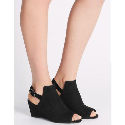 Footglove Suede Wedge Heel Peep Toe Slingback Sandals