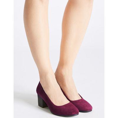 Footglove Suede Block Heel Crepe Effect Court Shoes