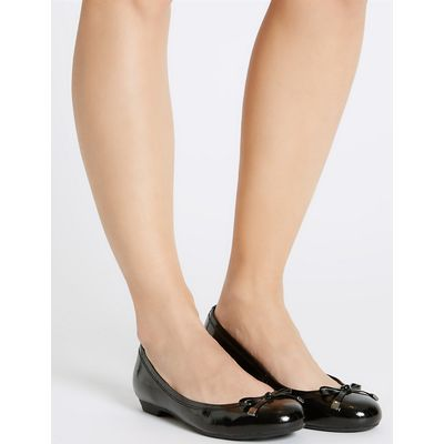 Footglove Wide Fit Leather Bow Pump Shoes