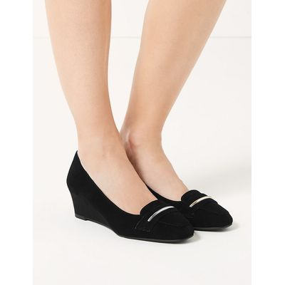 Footglove Wide Fit Leather Wedge Heel Court Shoes