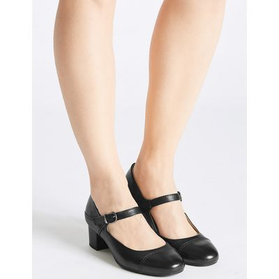 Footglove Wide Fit Leather Block Heel Court Shoes