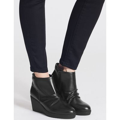 Footglove Leather Wedge Heel Side Zip Ankle Boots
