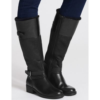M&S Collection Block Heel Fur Lined Knee High Boots