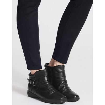 Footglove Wide Fit Leather Side Zip Ruched Ankle Boots