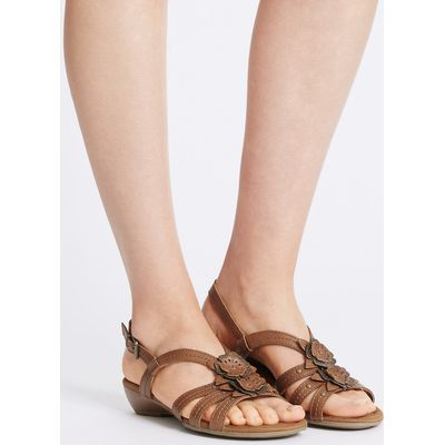 Footglove Wide Fit Leather Flower Sandals