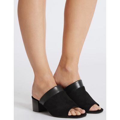 Footglove Wide Fit Suede Block Heel Mule Sandals