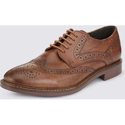M&S Collection Extra Wide Fit Leather Brogue Shoes