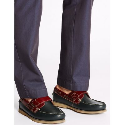 Blue Harbour Leather Riptape Boat Shoes