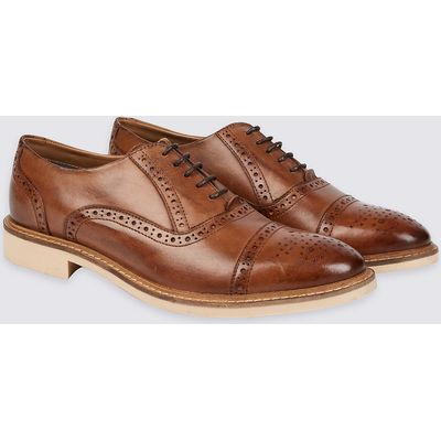 M&S Collection Leather Contrast Sole Brogue Shoes