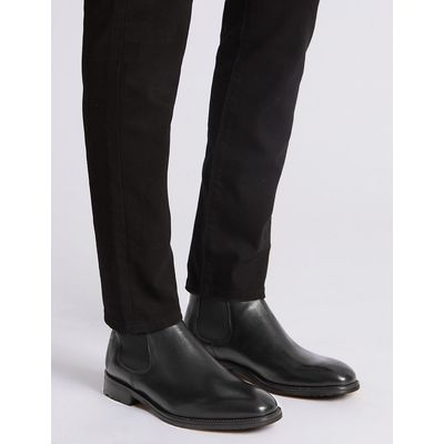 M&S Collection Luxury Leather Elastic Chelsea Boots