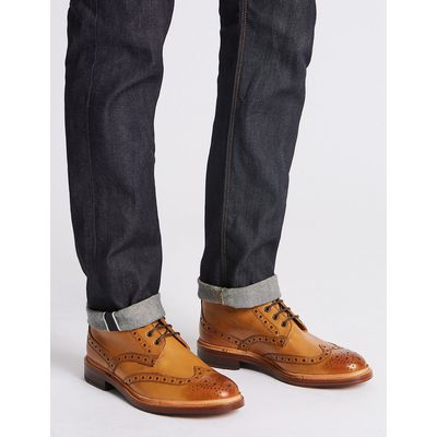 Savile Row Inspired Leather Brogue Boots