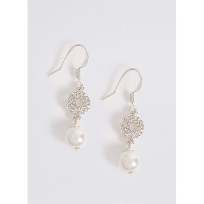 M&S Collection Pave Disc Pearl Earrings