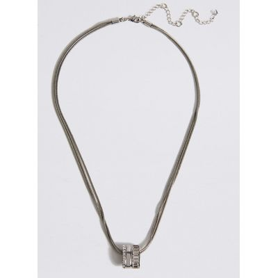 M&S Collection Baguette Striped Necklace MADE WITH SWAROVSKI ELEMENTS