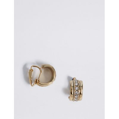 M&S Collection Gold Plated Sparkle Clip Hoop Earrings
