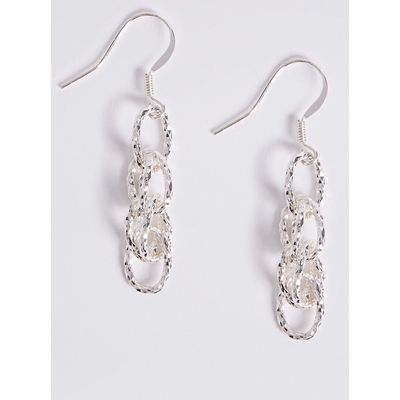 M&S Collection Silver Plated Textured Link Drop Earrings