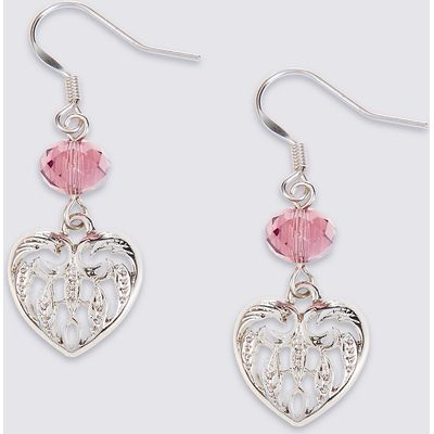 M&S Collection Multi-Faceted Bead Heart Drop Earrings