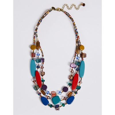 M&S Collection Flat Wood Triple Layer Necklace