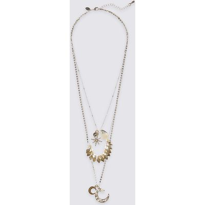 M&S Collection Moon & Star Layered Necklace