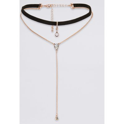 M&S Collection Tear Drop Layered Choker Necklace