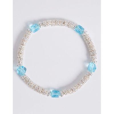 M&S Collection Silver Plated Popcorn Stretch Bracelet