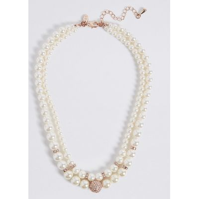 M&S Collection Pearl Effect Double Row Necklace