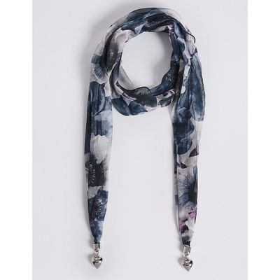 M&S Collection Floral Print Scarf Necklace