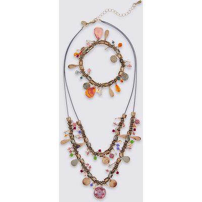 M&S Collection Charm Droplet Necklace & Bracelet Set