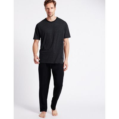 M&S Collection 2in Longer Cotton Rich Striped Pyjamas