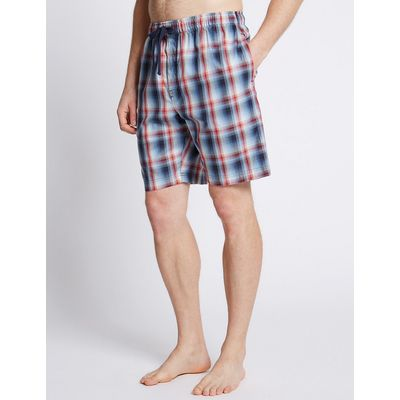 M&S Collection Pure Cotton Checked Stay Soft Pyjama Shorts