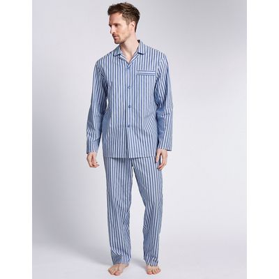 M&S Collection 2in Longer Pure Cotton Striped Pyjamas