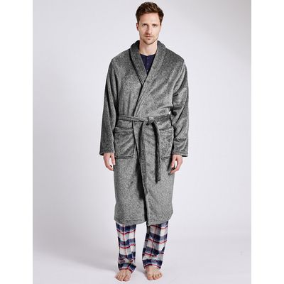 M&S Collection 2in Longer Fleece Dressing Gown with Belt